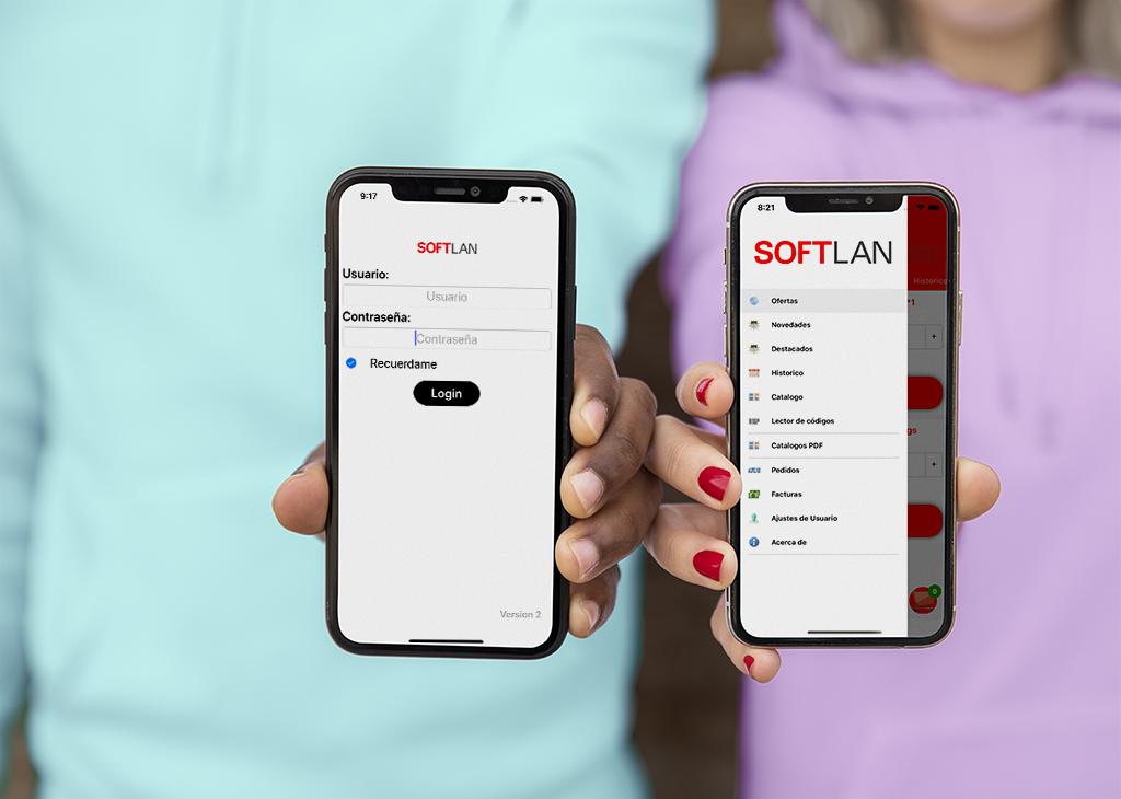 SoftTran App dos manos sujetando